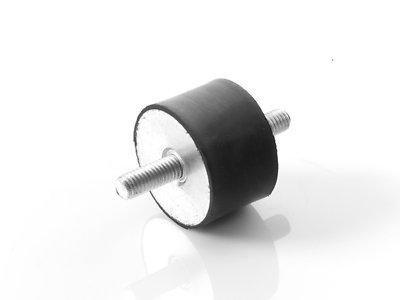 4 Stück Maschinenfuß Möbelfuß Gummi-Metall-Element mit 2-seitigem Gewinde Typ A (M6x16, 20x20) -