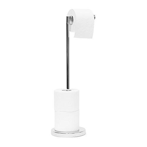Relaxdays Toilettenpapierhalter stehend HBT 75 x 22 x 16,5 cm freistehender Papierrollenhalter aus Stahl Rollen als Ersatzrollenhalter verchromt, Silber WC-Rollenhalter, 16.5 x 22 x 56 cm