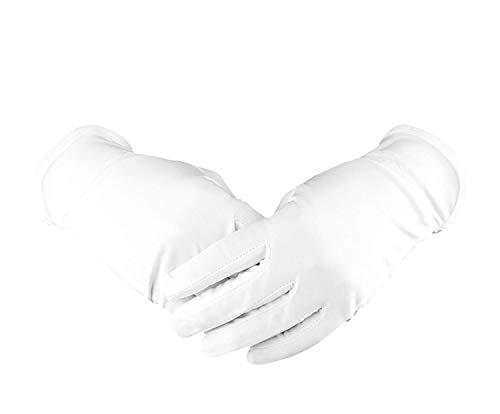 White Cotton Gloves nicwhite-Handschuhe, feuchtigkeitsspendend, Arbeitshandschuhe, 21,8cm, dick und robust, --, silberfarben, Fliege, formal, Handschuhe-Motiven, 12Paar