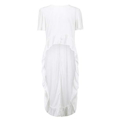 CRRE Unregelmäßiges Hemd Damen Mode Cool Lange Bluse Frauen Unregelmäßige Rüschen Hem Shirt Party Blusen Glocke Ärmel Top -
