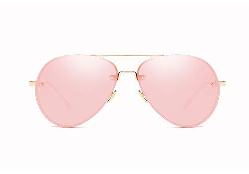 Fashion Aviator Sonnenbrille mit reflektierender verspiegelter Sonnenbrille mit UV-Schutz Designer für Damen und Herren - Goldrahmen mit Bobby-Pink-Linse
