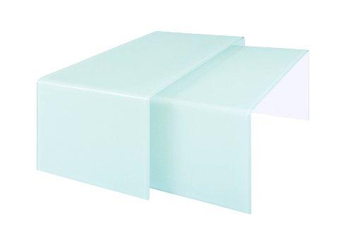 Premier Housewares 2401676 Gigognes 2 Tables en Verre Plié Blanc