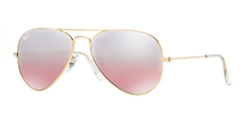 Ray-Ban RB3025 Aviator Large Metal Icons Racewear Sunglasses/Eyewear - Arista/Pink Silver Gradient Mirror / Size 55mm