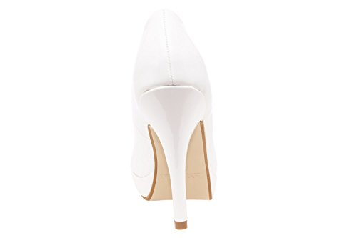 AM5003 - Andres Machado - Peeptoes in Weiss Lack mit Plateau Braut Soft Weiss