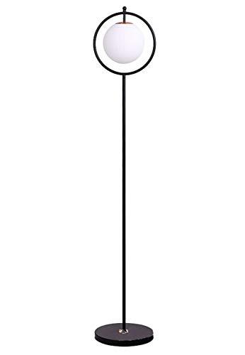 Stehleuchte Lampe Runder Glasschirm, Schlafzimmer Stehlampe, Deckenfluter Standleuchten (E27 Lampenfassung, Fußschalter, Leuchtenkörper Aus Eisen, Schwarz, Enthält Keine Lichtquelle) -