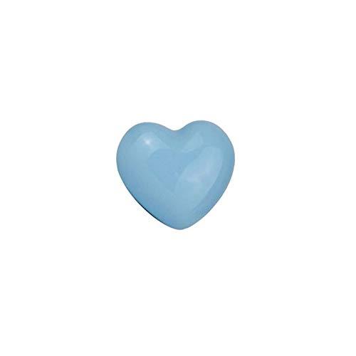 Keramik Möbelgriffe Schrankgriffe Griff für Kleiderschrank Kommode Schublade, Herz-Form - Blau -