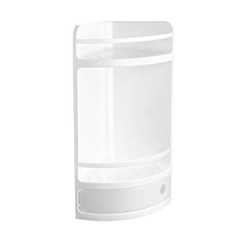 TATAY 4432001 - Estante de esquina organizador para baño con dos repisas y un cajón, plástico polipropileno, medidas 29 x 11 x 51, color blanco