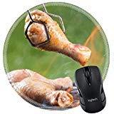 MSD Naturkautschuk Mousepad rund Maus Pad/Matte: 28344342Chicken Beinen auf Grill mit Fire -