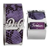 D&G Dolce&Gabbana Women's Quartz Watch with Purple Dial Analogue Display and Silver Leather Strap DW0137 D&G