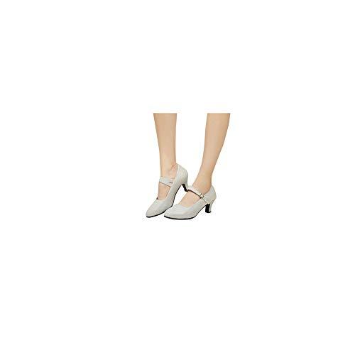 Damen Tanzschuhe Glitzer Knöchelriemen Mittelhohe Weicher Boden für Party Hochzeit, Standard Latein Tango Salsa Schuhe Klassische Pumps Elegante Brautschuhe Celucke (Silber, EU37)