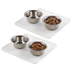 mDesign 2er-Set Silikonmatten – kleine Napfunterlagen für Hunde und Katzen – praktische Bodenschutzmatten aus beständigem Silikon – durchsichtig