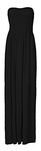 Fast Fashion Damen Maxi Kleid Plus Größe Plain Umführungsvorrichtung Bandeau -