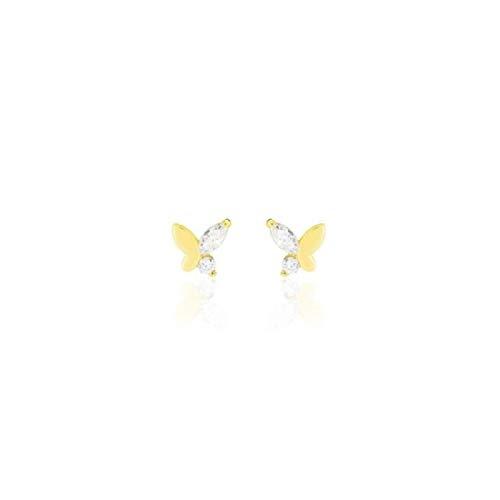 Stroili Oro Orecchini a Lobo In Oro Giallo e Zirconi Farfalle Referenza 1401112
