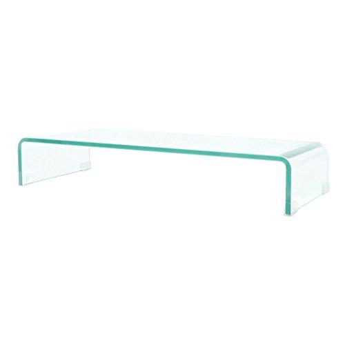Die Klassische Moderne Tv-ständer (Festnight TV-Tisch aus Glas Bildschirmerhöhung Monitortisch Glastisch Fernsehtisch TV-Board Transparent 80x30x13cm)