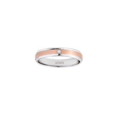 Ring 52 - Edelstahl Zirkonia - bicolor