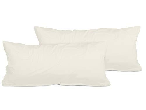 npluseins 2er Pack Kissenbezug oder 1 Set Bettwäsche - Jersey Baumwolle 552.676, 40 x 80 cm, Creme -