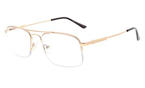 Eyekepper 3 livelli di metà-bordo visione multifocus uv occhiali da lettura protezione progressiva lettori da uomini donne bendable memoria montatura (canna di fucile, 1.00)