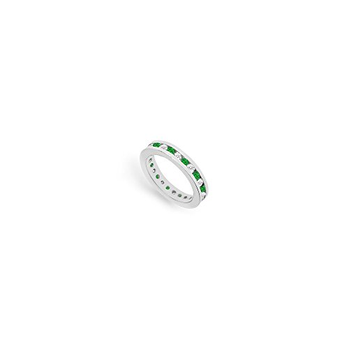 Diamond and Emerald Eternity Band in 18K White Gold 1.00 CT TGW First Wedding Anniversary Gift (Wedding Gold K 18 White Band)