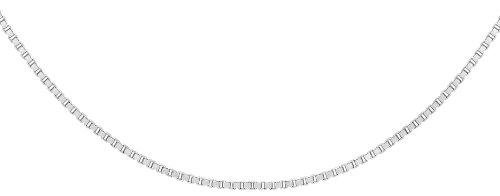Carissima Gold Unisex 18 ct White Gold Square Chain of 46 cm/18 inch