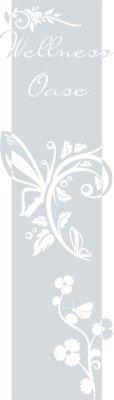 Preisvergleich Produktbild Wandtattoo Türaufkleber Türbanner für Badezimmer Spruch Wellness Oase Blumen (200x57cm//072 hellgrau)