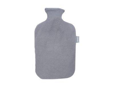 Fashy 35880.5 Wärmflasche 1er Pack ~ Thermoplast- Wärmeflasche mit Flauschbezug, geruchsneutral, recyclingfähig, robust und langlebig, fugenloser, schmaler Flaschenhals ~ 2,0 Liter, anthrazit