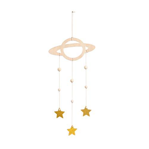 LIOOBO Holz Hängedeko Baby Mobile Planet Star Hängende Bilderrahmen Decke Hänger Kinderzimmer Dekoration (Golden) Planet Mobile