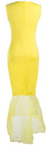 U-shot Abito da Donna Senza Maniche Slim Elegante Vestito da Sera Giallo