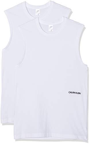 Calvin Klein Damen Muscle Tank 2Pk Unterhemd, Weiß (White 100), One Size (Herstellergröße: M) -