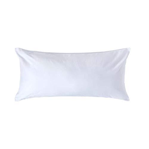 Homescapes Kissenbezug 40 x 80 cm - 100% Reine ägyptische Baumwolle Fadendichte 1000, Perkal-Kissenbezug mit Reißverschluss in Premium-Qualität - weiß -