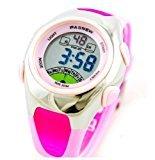 PASNEW moda impermeable niños niños niñas LCD reloj deportivo digital con alarma, cronógrafo, fecha (rosa)
