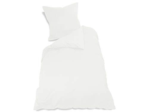 npluseins 2er Pack Kissenbezug oder 1 Set Bettwäsche - Jersey Baumwolle 552.676, Bettwäsche [135 x 200 + 80 x 80 cm], weiß