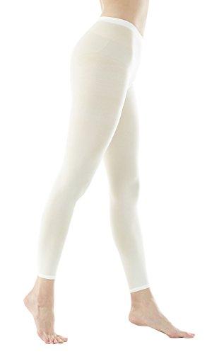 STYLEGAGA Women's 80Denier Footless Pantyhose Tights Medium / Large Ivory (Footless Weiß Tights)