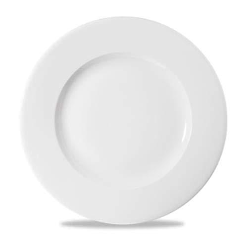 Assiette plate bordée blanche en porcelaine ligne Profile 12 pièces