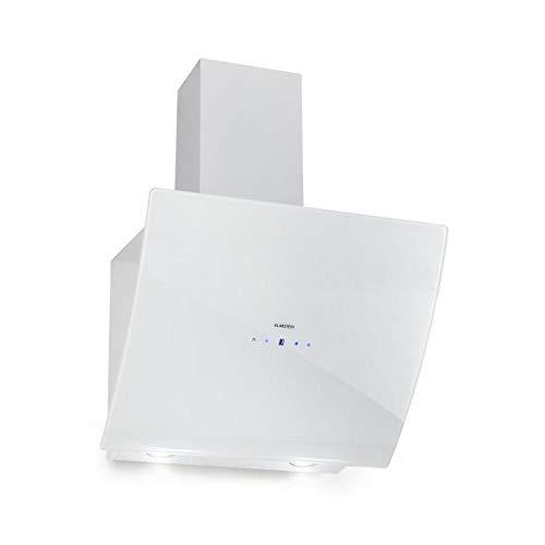 Klarstein Annabelle 60 - Dunstabzugshaube, Wandabzugshaube kopffrei, Abluft/Umluft, 650 m³/h Abluftleistung, 230 Watt, LED, Edelstahl, Touch-Armatur, weiß