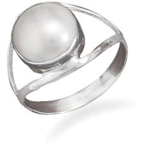 Argento Sterling 10mm perle d' acqua dolce coltivate, anello con Design–Dimensioni Anello opzioni Serie: J Di Banda Fino a aperto