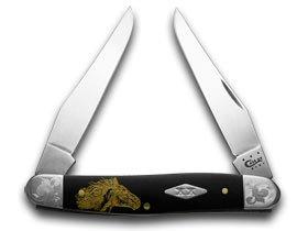 CaseXX XX Wild Mustang Black Delrin Scrolled Bolster 1/500 Muskrat Pocket Knife Knives