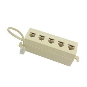 cablecc 5 Way Outlet 6P4 C RJ11 RJ12 Telefon Modular Jack Line-Splitter Adapter Beige 1-in-5-out (Modular Outlet)
