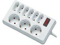 REV Ritter 00250101 Steckdosenleiste 6+3 mit Schalter KS 1.4 m, weiß