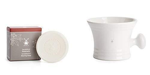 Sandelholz Rasierseife Refill (MÜHLE Rasierschale Porzellan Tasse Weiß mit 65g Sandelholz Rasierseife Refill)