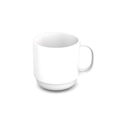 Ornamin Becher 220 ml weiß | hochwertiger, stabiler Kaffeebecher aus Kunststoff mit Henkel | robustes Alltags-Geschirr für Kinder, Camping, Picknick, Gemeinschaftsverpflegung, Großküchen, Institutionen | Kaffeetasse, Mehrweg-Becher, Teetasse