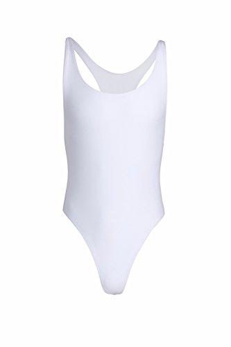 YiZYiF Herren Body Bodysuit Stringbody Overall Unterhemd Tank Top Männer Unterwäsche Slips Dessous M-XL Weiß ()