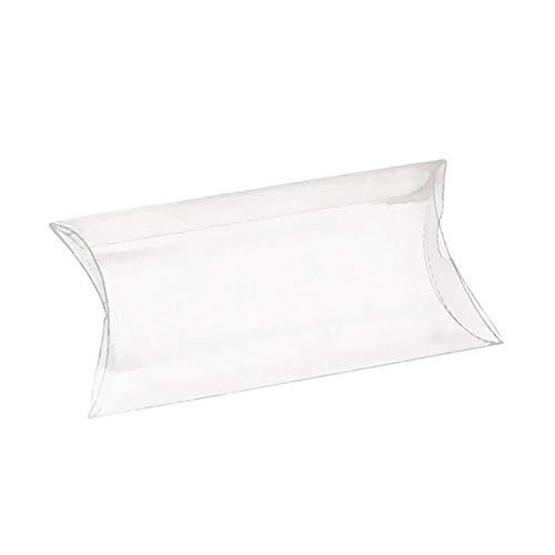 Vetrineinrete® scatoline portaconfetti a cuscino in pvc trasparente 48 pezzi bricolage tubo fai da te matrimonio comunione battesimo e compleanno confetti e caramelle (6 x 10 cm) d91