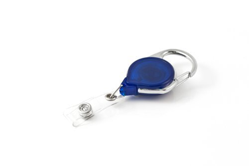 Key-Bak Retract-A-Badge ID Carabiner and Belt Clip Retractable Reel with 36-Inch Cord and Twist Free Vinyl ID Strap (Translucent Blue) by Key-Bak
