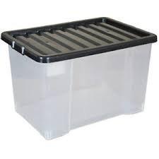 Große, transparente Kunststoff-Behälter mit 50 Liter Fassungsvermögen, starke und stapelbare Boxen,5Stück (Garage Storage-boxen)