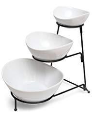 GIBSON Elite Gracious Esstisch 3Etagen Schale Server Set mit Metall Ständer, aus drei Feinste Keramik Geschirr und eine stabile Metall Ständer -