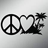 Peace Love Beach Life Vinyl Decal Sticker | Cars Trucks Vans Walls Laptops Cups | Black | 7.5 X 3.7 Inch | KCD1619B