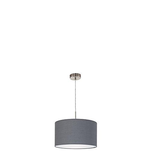 EGLO 31573 A++ to E, Hängeleuchte, Stahl, E27, Nickel-matt/Grau, 38 x 38 x 110 cm