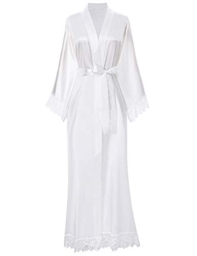 ArtiDeco Kimono Vestido Puramente Blanco Bata Novia