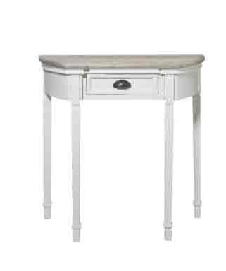 Consolle bianca un cassetto in legno con rifiniture color legno in stile vintage L'ARTE DI NACCHI OP-72
