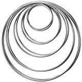 10 Piezas Anillos de Metal Aros de Metal para Atrapasueños, 5 Tamaños (Plateado)